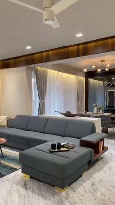 Living Room Partition Design, Ceiling Design Living Room, Home Design Living Room, Room Design Bedroom, Living Room Modern, Modern Bedroom, Home Modern, Modern House Design, Modern Bungalow