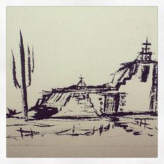 A DeGrazia sketch of his beloved Mission in the Sun.