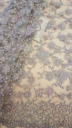 3D Spitze Stoff grau Luxus handgemachte Perlen von von ImperialLace