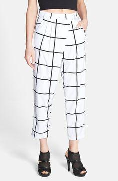 Grid Pattern Wrap Detail Crop Pants // @Nordstrom