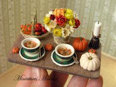 Miniature Dollhouse Dinner On The Serving Tray por Minicler en Etsy