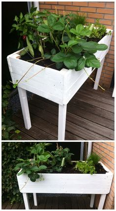 Pallet herbs table ... A Planter #Herbs, #PalletPlanter, #PalletRack, #RecycledPallet