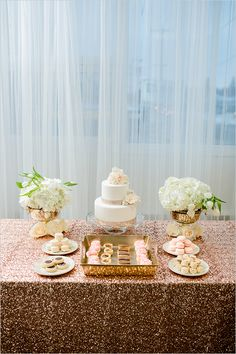 rose gold cake table #cake #caketable #weddingchicks http://www.weddingchicks.com/2014/02/19/glamorous-rose-gold-wedding/