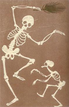 Morbid Anatomy: Antique Japanese Postcard of the Late Centuries Memento Mori, Vintage Japanese, Japanese Art, Japanese History, Illustrations, Illustration Art, La Danse Macabre, Skeleton Art, Skeleton Makeup