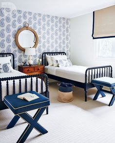 Create a Kid's Bedroom that they will want to share! Mood Board by Postbox Designs E-Deisgn, shared kid's bedroom, bunkroom design, boy bedroom decor, girl bedroom decor Coastal Bedrooms, Guest Bedrooms, Guest Room, White Bedrooms, Cottage Bedrooms, Boy Bedrooms, Spindle Bed, Home And Deco, Beautiful Bedrooms