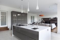 Fascinating grey gloss kitchen trends with furniture home decorating ideas white contemporary dark truffle kitchens interiors coloured cabinets wall colors Apartment Interior Design, Kitchen Interior, Kitchen Decor, Kitchen Ideas, Kitchen Paint, New Kitchen, Soup Kitchen, Kitchen Backsplash, Edinburgh