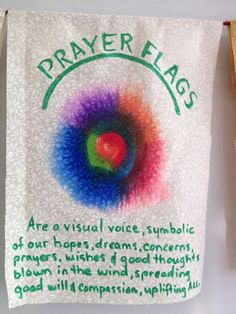 Meaning behind prayer flags.may our prayer flags fly for healing in Nepal, namaste ! Craft Projects, Sewing Projects, Projects To Try, Craft Ideas, Fabric Art, Fabric Crafts, Prayer Stations, Prayer Garden, Diy And Crafts