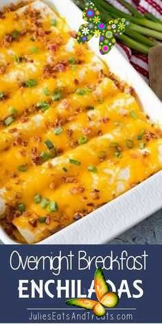 Overnight Breakfast Enchiladas Overnight Breakfast Enchiladas ~ Tortillas stuffed with Sausage, Eggs,Cheese and Bacon! This is the Perfect Overnight Breakfast Casserole Recipe! #breakfast #tortillas<br>