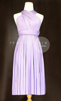 Short Straight Hem Lilac Bridesmaid Convertible Dress Infinity Dress Multiway Dress Wrap Dress Light Purple Pastel Wedding Dress on Etsy, $34.00