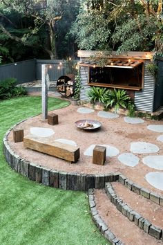 The fires burning. Recycled railway sleepers, deco granite & corten steel along with a mix of Asplenium, Cyathea & Blechnum Silver Lady… Fire Pit Backyard, Backyard Patio, Patio Bar, Outdoor Areas, Outdoor Rooms, Outdoor Living, Australian Native Garden, Australian Garden Design, Backyard Creations