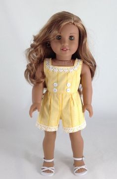 Sweet Sassy - Romper and Sandals for American Girl Dolls like Lea, Grace… Sewing Doll Clothes, Baby Doll Clothes, Sewing Dolls, Doll Sewing Patterns, Doll Clothes Patterns, Dress Patterns, Pattern Dress, Dress Clothes, My American Girl Doll