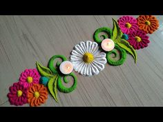Happy Diwali border design 2019/Lakshmi Pooja rangoli - YouTube Rangoli Designs Simple Diwali, Simple Rangoli Border Designs, Rangoli Simple, Indian Rangoli Designs, Rangoli Designs Latest, Rangoli Designs Flower, Rangoli Borders, Free Hand Rangoli Design, Small Rangoli Design