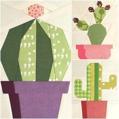 Sewing Block Quilts Image of Cactis Trio Quilt Block Patterns - x each - This listing is for one, three page .pdf (electronic) pattern of three designs. The succulent trend is sweeping the nation! It's no wonder as. Paper Piecing Patterns, Quilt Block Patterns, Pattern Blocks, Quilt Blocks, Embroidery Patterns, Quilting Projects, Quilting Designs, Sewing Projects, Southwestern Quilts