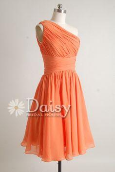 Orange Chiffon One-Shoulder Bridesmaid Dress