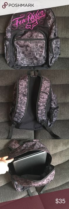 Fox Riders Backpack weekend sale ! Awesome used backpack.  All zippers work.  Still great shape.  You can see my laptop easily fits inside.  Padded adjustable straps.  Front, interior and side pockets.  Hot purple 3D stitched and on black fox print in a gray/plum Fox Bags Backpacks