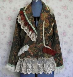 Coat..Jacket..tapestry..lace..upcycled