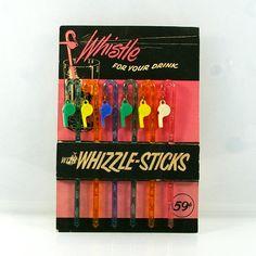 Vintage Swizzle Sticks Six Whizzle Sticks Retro by Flourisheshome