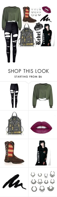 """""""Rebel 🤘🏼"""" by sweetie-pie77 on Polyvore featuring WithChic, Moschino, Durango, REBEL8, rebel, cheeky, wink and rulebreaker"""