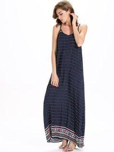 Navy Tribal Print V-Neck Cami Maxi Dress