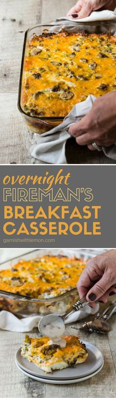 This recipe for Fireman's Overnight Breakfast Casserole has been in our family for decades. It's an easy, make-ahead recipe that is perfect for holiday brunches! (healthy casserole recipes make ahead) Breakfast And Brunch, Breakfast Items, Breakfast Dishes, Best Breakfast, Breakfast Recipes, Recipes Dinner, Breakfast Quiche, Make Ahead Breakfast Casseroles, Lunch Recipes