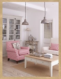 Pink and white country living room