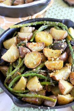 Parmesan crusted potatoes with asparagus, a healthy and delicious combination of red, yellow and blue potatoes oven roasted to a golden brown perfection.