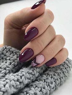 50 Trendy Nail Art Designs to Make You Shine -Deep Purple Nails and Chevron Glitter Accents Cute Nail Art Designs, Colorful Nail Designs, Nail Designs Spring, Oval Nail Designs, Latest Nail Designs, Spring Design, Cute Spring Nails, Spring Nail Art, Cute Nails