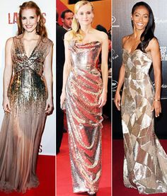 Jessica Chastain, Diane Kruger and Jada Pinkett Smith in gold sequins at Cannes