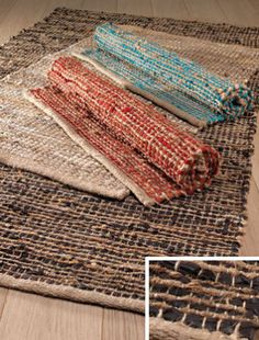 Fair Trade Recycled Jute & Leather Rag Rugs 90 cm x 150 cm. These rugs come in 4 different colours - red, brown, turquoise and beige. These rugs are hand made in India and are hard wearing.