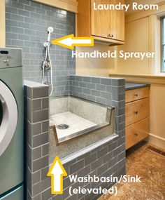 Washbasin / Sink with handheld sprayer in the laundry room, next to the mudroom. Can be used to wash linens, rinse muddy boots, wash dog, etc...