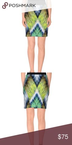 MILLY Green & Blue Print Mini Skirt Product Info Composition: 94% Polyester, 6% Elastane - + Composition: 94% Polyester, 6% Elastane Details: jersey, multicolor pattern, elasticized waist, no appliqués, no fastening, no pockets, unlined, trapeze dress size small. NEW WITH OUT TAGS Milly Skirts Mini