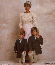 """This photo was recently discovered. Sweet...look the boys are in bare feet but so is Diana! She always made me feel like she was a real person, (unlike Prince """"What's His Name"""")."""