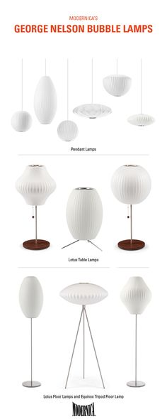 The george nelson bubble lamp collection pendants table lamps and floor lamps available