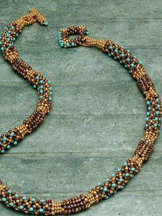 Earthen Treasure Necklace; Jeanne Evans; Beadwork December/January 2014/2015 | InterweaveStore.com