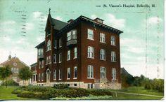 ST. VINCENT'S HOSPITAL BELLEVILLE ILLINOIS 1909 POSTCARD