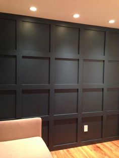 The wall panel walls and lighting finished. Accent Wall Bedroom, Bedroom Decor, Master Bedroom, Wall Molding, Moldings, Interior Decorating, Interior Design, Wainscoting, Basement Remodeling