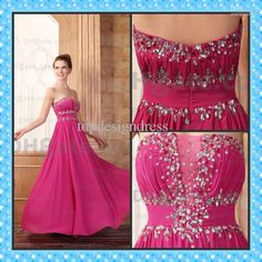 Wholesale No Risk Shopping Chiffon Evening Dress A-line Strapless Beaded Floor Length Colorful Party Dresses, Free shipping, $114.99-134.99/Piece   DHgate