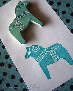 Dala horse block print