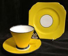 SHELLEY ART DECO VOGUE COFFEE CUP SAUCER PLATE CHEVRON PATTERN # 11776/31   eBay