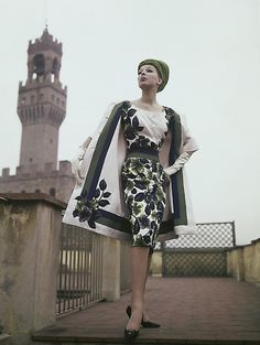 60's Italian fashion-white with green and purple flowers dress and coat