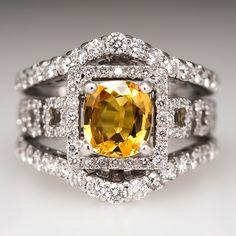 Wide Band Yellow Sapphire Diamond Halo Ring 18K White Gold & Platinum