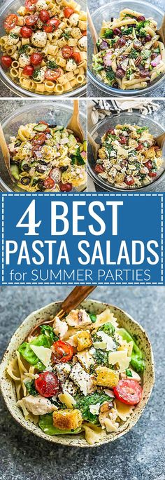 These are the Four Most Popular Pasta Salads that everyone looks for. Caprese, Chicken Caesar, Greek Tortellini and Broccoli Pasta Salad. They are the perfect side dish to bring to summer potlucks, parties, Memorial Day / Fourth of July grillouts/barbecue Best Pasta Salad, Pasta Salad Recipes, Potluck Recipes, Cooking Recipes, Healthy Recipes, Picnic Recipes, Sandwich Recipes, Pasta Penne, Tortellini