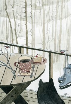 Winter Breakfast on the Porch Art Print by Yuliya