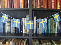 Swedish flag christmas garland or nordic scandinavian traditional