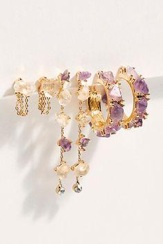 Raw Stone Hoop Earring Set by Free People, Gold, One Size Ear Jewelry, Cute Jewelry, Boho Jewelry, Jewelery, Jewelry Accessories, Handmade Jewelry, Fashion Jewelry, Jewelry Design, Jewelry Necklaces