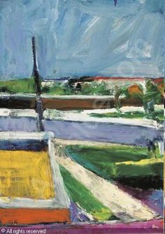 Richard Diebenkorn-Untitled Landscape Using a great deal of triangles and elongated rectangles, a detailed and receding environment is created while pushing and pulling space in an effective manner. Willem De Kooning, Richard Diebenkorn, Jackson Pollock, Traditional Landscape, Contemporary Landscape, Abstract Landscape, Contemporary Paintings, Franz Kline, Robert Rauschenberg