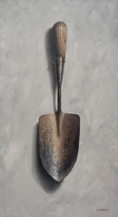 John Morfis • Oil • 18x10 inches  Find out why this is my second attempt at painting this shovel!    http://helloartsy.com/garden-shovel-painting/