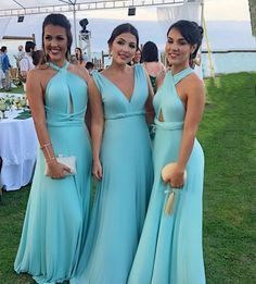 Vestido de madrinha de casamento azul tiffany