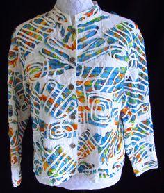 CHICO'S Artsy Print Patchwork Swirly Applique Multi Color 2 L Jacket Shirt  $28.89
