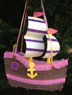 Check out our customized pinatas selection for the very best in unique or custom, handmade pieces from our shops. Pirate Birthday, Girl Birthday, Navy Party Themes, How To Make Pinata, Girl Pirates, Nautical Party, Ariel The Little Mermaid, Party Time